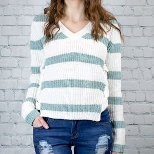 Mint and Cream Striped Sweater